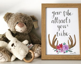 NEW! A4 original watercolour 'Your vibe attracts your tribe' quote and design