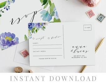 Rsvp Postcard Printable INSTANT DOWNLOAD, Wedding Rsvp Card DIY Printable Invitation, Templett, Editable pdf, Rustic Invites, Blue, Wilde