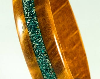 Madrone burl wood with crushed German glass inlay