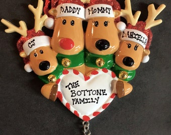 Personalized Reindeer Family of 4 Ornament
