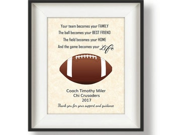 Gifts for Football Coaches - Football Coaches Gifts - Football Coach Gift Ideas - Personalized Football Coach Gifts - 8 x 10 - Your Life