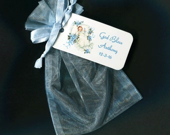Baptism Favor Bags - Personalized Favor Bags - Baby Boy - Christening Favor Bags - Blue - Organza Bags - 4 X 6 Organza Bags - Favor Tag