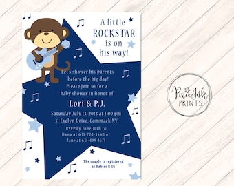 Rockstar Baby Shower Invitation, Rockstar Monkey Baby Shower Invitation, Monkey Baby Shower Invite, Rockstar Invitation Printable