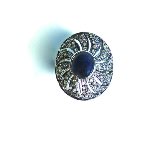 DIAMOND SAPPHIRE RING ~ Sterling Silver ~ Cocktail Ring ~ Statement Ring ~ Art Nouveau ~ Vintage ~ 1950's ~ Free Shipping
