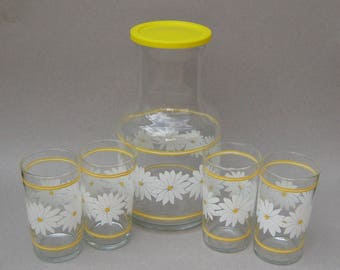 Libbey Glass Juice Set Daisy Carafe & Glasses White and Yellow Daisy Pattern Libbey of Canada