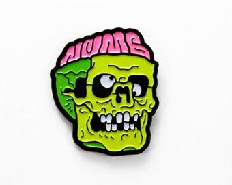 """Numbskull Enamel Pin - 1.25"""" Zombie Skull Lapel Pin, Numb Skull"""