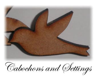 1 x Dove Cabochon / Bead  MDF Laser Cut 47mm x 27mm suit Pendants etc  Number Choice  Made in AUSTRALIA