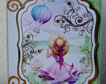 Greeting card handmade, mother's day card, sage and pink and light purple