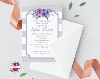 Purple and Grey Striped - Watercolor Floral - It's a Girl - Baby Shower Invitation - Printable Invitation - Digital Invitation