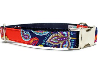 Blue and Orange Paisley Dog Collar with Metal Buckle | Paisley Dog Collar | Female Dog Collar | Liberty of London Fabric Dog Collar