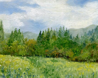 Landscape Vermont Oil Painting Mountains Fields Trees Original Art Spring Summer Blue Skies By Laurie Rohner