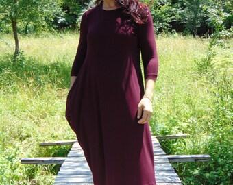 NEW Bordeaux dress/Asymmetric dress/Plus size dress/Dress with 3/4 sleeves /Pencil dress/Wine dress/Midi dress/Beautiful Dress/Trendy Dress/