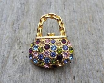Small Rhinestone Handbag Brooch