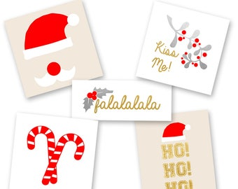 SANTA BABY Variety SET includes 25 assorted pre-cut holiday-inspired metallic temporary jewelry Flash Tattoos