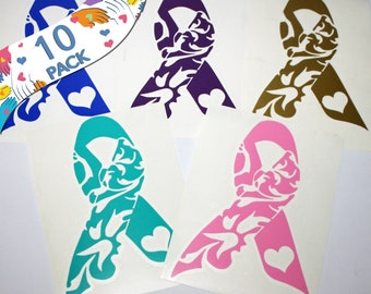 Cancer Survivor Gift Making -10 PACK- Vinyl Awareness Ribbon Sticker Decals - Fundraising - Wholesale