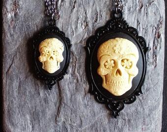 Sugar skull cameo necklace, Halloween necklace, skeleton cameo necklace, Halloween jewelry, cameo jewelry, unique holiday gift ideas