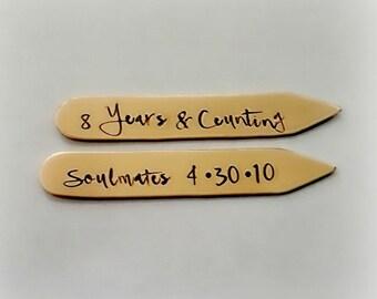8th Bronze Wedding Anniversary Collar Stays,  Hand stamped Eight Years Counting Anniversary Gift Boyfriend, Custom Stamped Gift for Husband
