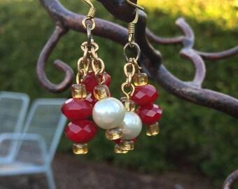 Red & Pearl Chandelier Earrings