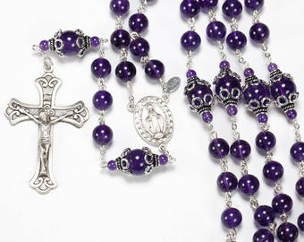 Amethyst Catholic Women's Rosary | Bali Sterling Silver, Miraculous Medal, Crucifix | Handmade, Heirloom, Custom Rosaries, Gift for Mom