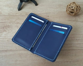 Handmade bifold leather wallet - free shipping Etsy
