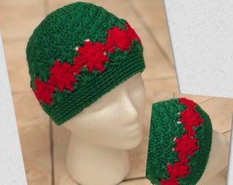 "Crochet ""Deck the Halls "" hat"