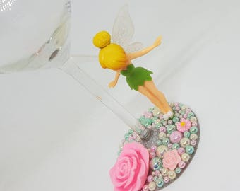 Personalised Disney Standing Tinkerbell Fairy Wine Glass
