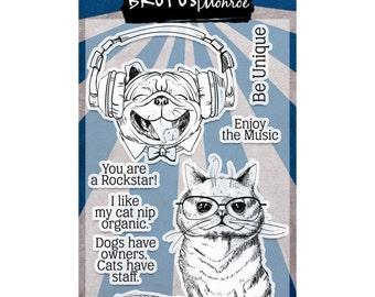 Brutus Monroe Clear Stamp Set - Rockstar Pets - Dog, Cat