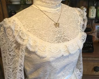 Vintage 1960s Wedding Gown in Creamy Sweet Ruffles Lace Size 13-14 Gathered Waist Long Sleeves Victorian Neckline Satin Ribbon Sash Perfect