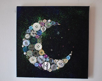 Original painting and button moon twilight art size 9.5x9.5cm with glitter. Perfect for a nursery.