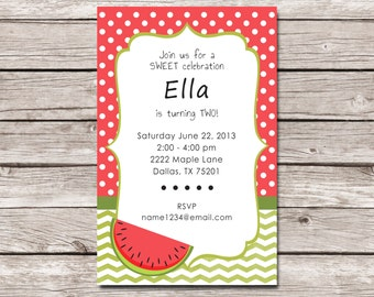 Watermelon Party Invitation - Digital File