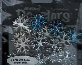 Winter Snowflakes  Glitter Foam Scrapbook Stickers Petaloo Embellishments Cardmaking Crafts