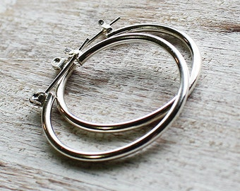 Sterling Silver Lever Clasp Hoop Earrings, Silver Hoop Earrings