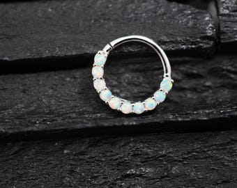 White Opal horizontal eternity hoop Daith earring / Cartilage / Septum ring / Nose ring