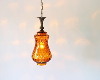 Amber Glass Pendant Lamp, Hanging Pendant Lighting Fixture, Mid Century Amber Glass Shade, Modern Home Lighting and Decor