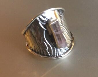 Pale Tourmaline Specimen. Solid Silver Ring Cuff. Size 8 COANM©2016