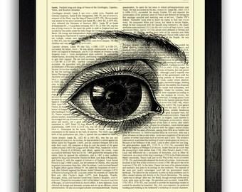 Eye Art Print, ORIGINAL ARTWORK on Dictionary Page, Vintage Dictionary Art Print, Human Anatomy Art, Dictionary Print, Dictionary Artwork
