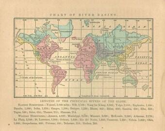 Vintage Antique World Map Print, antique lithograph