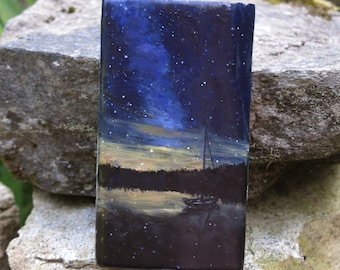 "Reflection's edge - Oil on reclaimed barn wood, 6""x3"""