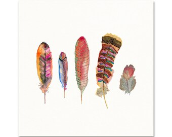 Red Watercolor Feather Art Print. Autumn Colored Feather Painting. Nature Lover Wall Art. Gallery Wall Nature Print. Gift for Nature Girl.
