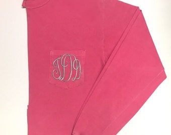 Long Sleeve Monogrammed T Shirt, Monogram T Shirt, Monogram Long Sleeve T Shirt, Pocket T, Long Sleeve Pocket T Shirt, Monogram Shirt
