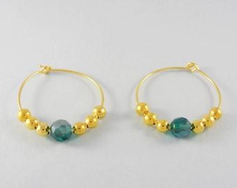 Green beaded hoop earrings - gold hoops - green crystal earrings - gold bead pierced earrings