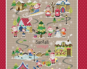 Christmas cross stitch pattern and kit - Santa's Village 1, Christmas decor, Christmas gift, Christmas craft, counted cross stitch pattern