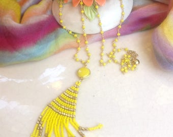 Yellow Gemstone Glass Bead Tassel Necklace/ Summer Boho Necklace/ Resort Ethnic Necklace