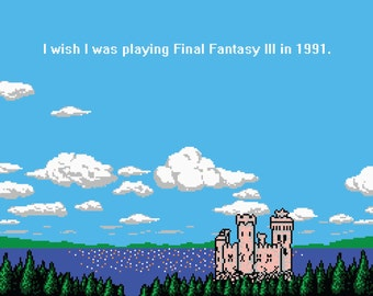 Video Game Art, Pixel Art, Nintendo Art, 8-Bit, 8-Bit Art, Nintendo, Final Fantasy, Funny, Funny Poster, Geek, Wall Art, Castle, NES, Print