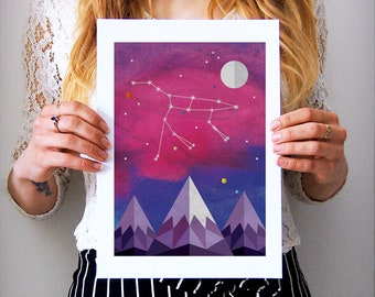 Ursa Major Constellation Art Print, Constellation Art, Ursa Major Art, Astronomy Gifts, Bear Constellation, Space Art, Space Illustration