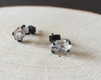 Herkimer Diamant oxidiert silber Trauringe Set Ohrstecker