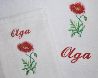 Bath towel 50 x 100 cm with matching glove, embroidered with name and image of a poppy