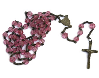 Catholic Rosary with Bright Pink Beads. Antique French Rosary.