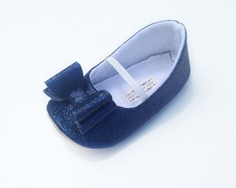 Toddler Girl Shoes Baby Girl Shoes Soft Soled Shoes Wedding Shoes Flower Girl Shoes Navy Glitter Shoes Navy Glitter Shoes  - Eloise