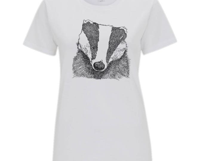 Badger Original Wildlife Line Drawing Art illustrated Women's Organic Cotton T-Shirt. White.